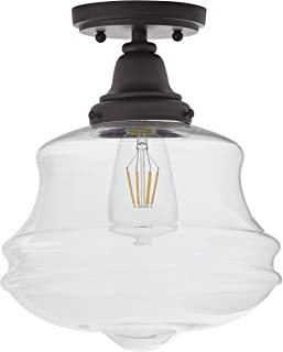Stone & Beam Vintage Farmhouse Flush Mount Ceiling Lighting Fixture with LED Light Bulb And Clear Glass Shade - 10 x 10 x 12.05 Inches, Antique Bronze