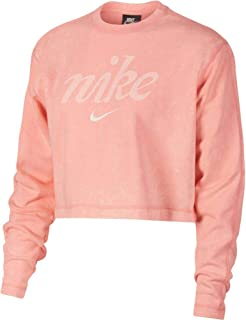 Nike Women's NSW Crew Crop WSH, Orange(Bleached Coral/Summit White697), X-Large