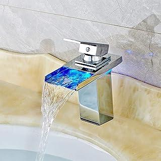 Grifo LED 3 Cambio de color RGB Square grifo de lavabo monomando Niederdruck grifos de lavabo cascada grifo para baño tamaño: 17,5 x 16 x 5 cm