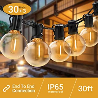 Quntis LED Outdoor String Lights - Waterproof 32FT G40 Globe String Lights with 30 Bulbs unbreakable Patio String Lights Hanging for Home Garden Backyard Wedding Party Christmas, UL Listed, Warm White
