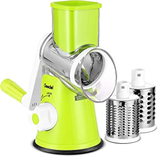 Geedel Rotary Cheese Grater, Easy to Clean Vegetable Mandoline Slicer with 3 Drum Blades, High Efficiently Vegetable Spiralizer Cutter