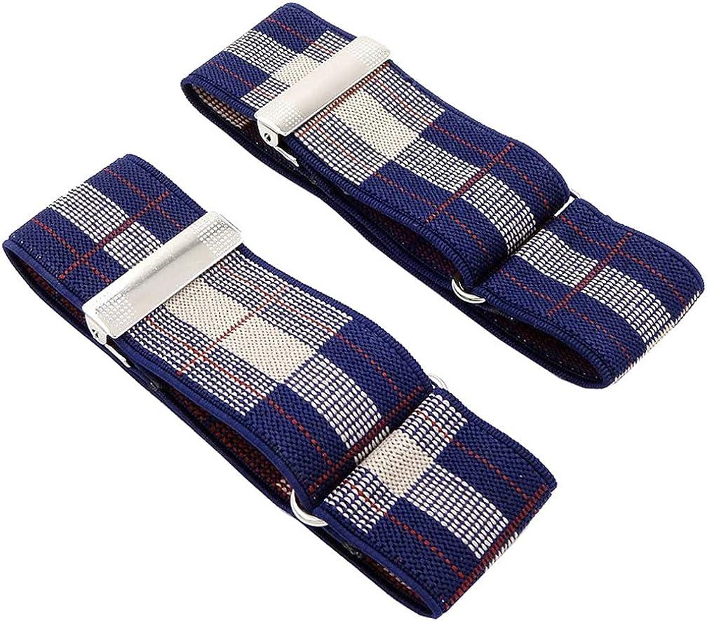 SupSuspen 2PCS Adjustable Plaid Shirt Sleeve Holders for Men Elastic Armband Bar