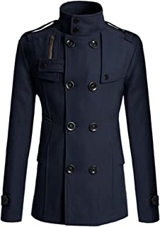 Men's Classic Double Breasted Wool Blend Lapel Stand Collar Pea Coat