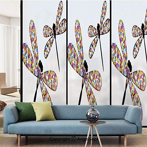AngelSept Window Film Decorate Glass Film Butterfly Dragonflies With Colorful Alluring Wings And Black Bodies Print W15 7xL63in For Bathroom Bedroom Living Room Multicolor