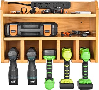 Power Tool Organizer, Sunix Power Tool Charging Station Drill Wall Holder Wall Mount Tools Garage Storage (Power Strip is Not Included)