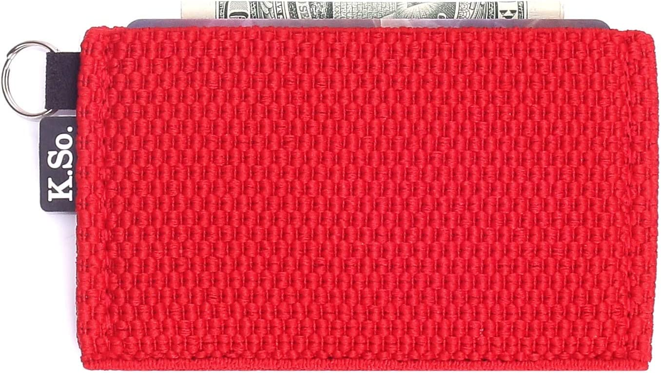 Minimalist Small Wallet Card Holder — Minimal Slim Front Pocket Elastic Wallet for Men & Women (Slimz Red)