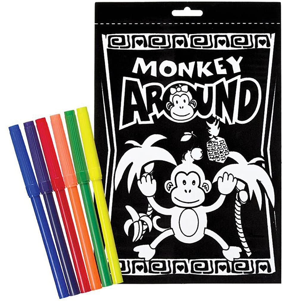 Darice 6-Inch by 9-Inch Velvet Art Set, Monkey Around