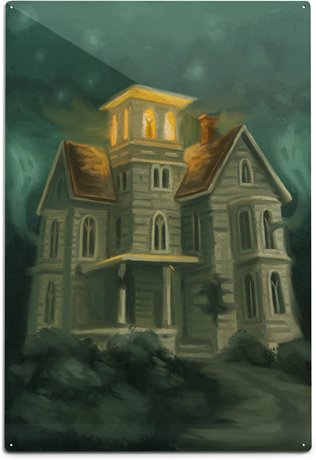 Lantern Press Haunted House Halloween Alumi Bargain sale Oil 12x18 Painting Selling and selling