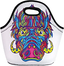 Semtomn Neoprene Lunch Tote Bag Aggressive Face of Warthog in Line Coloring Book Page Reusable Cooler Bags Insulated Thermal Picnic Handbag for Travel,School,Outdoors,Work