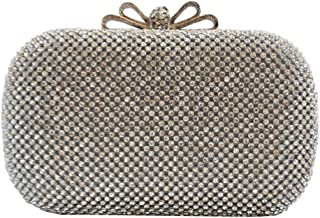 Chicastic Crystal Bow Closure Celebrity Style Clutch Purse Cocktail Bag with Rhinestone Crystals