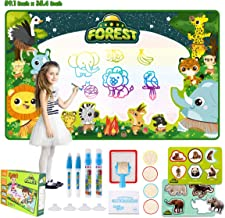 Water Doodle Mat - Large 59X35.4Inch Aqua Doodle Mat, 20 Colors Kid Water Drawing Mat Magic Writing Pad with 28pcs Painting Accessories Educational Toy & Toddler Birthday for Girls Boys