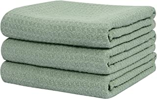 SINLAND Microfiber Dish Drying Towels Waffle Weave Kitchen Towels Absorbent Tea Towels 16 Inch X 24 Inch 3 Pack Mint Green