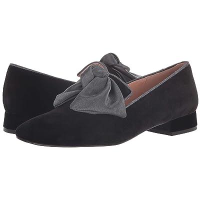 French Sole Church Loafer (Black Velvet/Silk Bow) Women