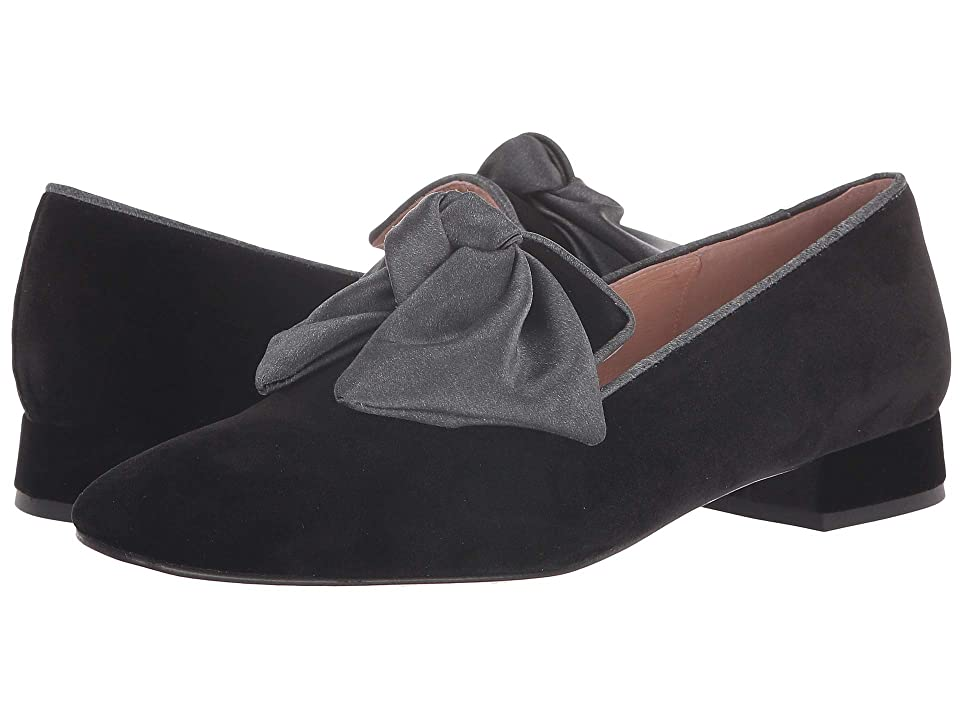 French Sole Church Loafer (Black Velvet/Silk Bow) Women