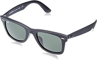 RAY-BAN RB2140F Original Wayfarer Asian Fit Sunglasses, Matte Black/Green, 52 mm