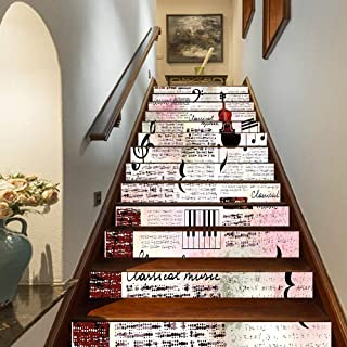 Old Newspaper Decor Staircase Stickers,Classical Music Theme Instruments Piano Violin Notes Symbols Decorative Self-Adhesive Wall Stair Stickers Mural Wallpaper for Home Decor,39.3