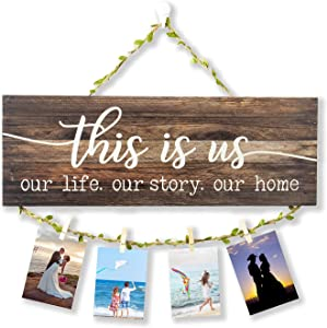 This is Us Our Life Our Story Our Home Rustic Rusty Metal Wall Sign Home and Kitchen Retro Decorative Signs Plaques (This is us, Brown)