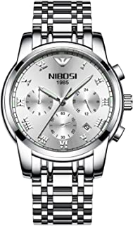 NIBOSI Watches Men Sport Quartz Watches Full Steel Waterproof Wrist Watch Gift Three-eye 6-pin Solid Steel Belt Watch