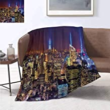 jecycleus New York Luxury Special Grade Blanket Aerial Cityscape Landmark Fourth of July Independence Penthouse Modern Art Image Multi-Purpose use for Sofas etc. W60 by L70 Inch Purple Gold