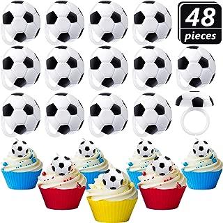 Blulu 48 Piezas Anillos de Magdalena de Fútbol Anillos de Fútbol Decoración de Pastel Anillos de Tarta de Fútbol para Suministros de Fiesta