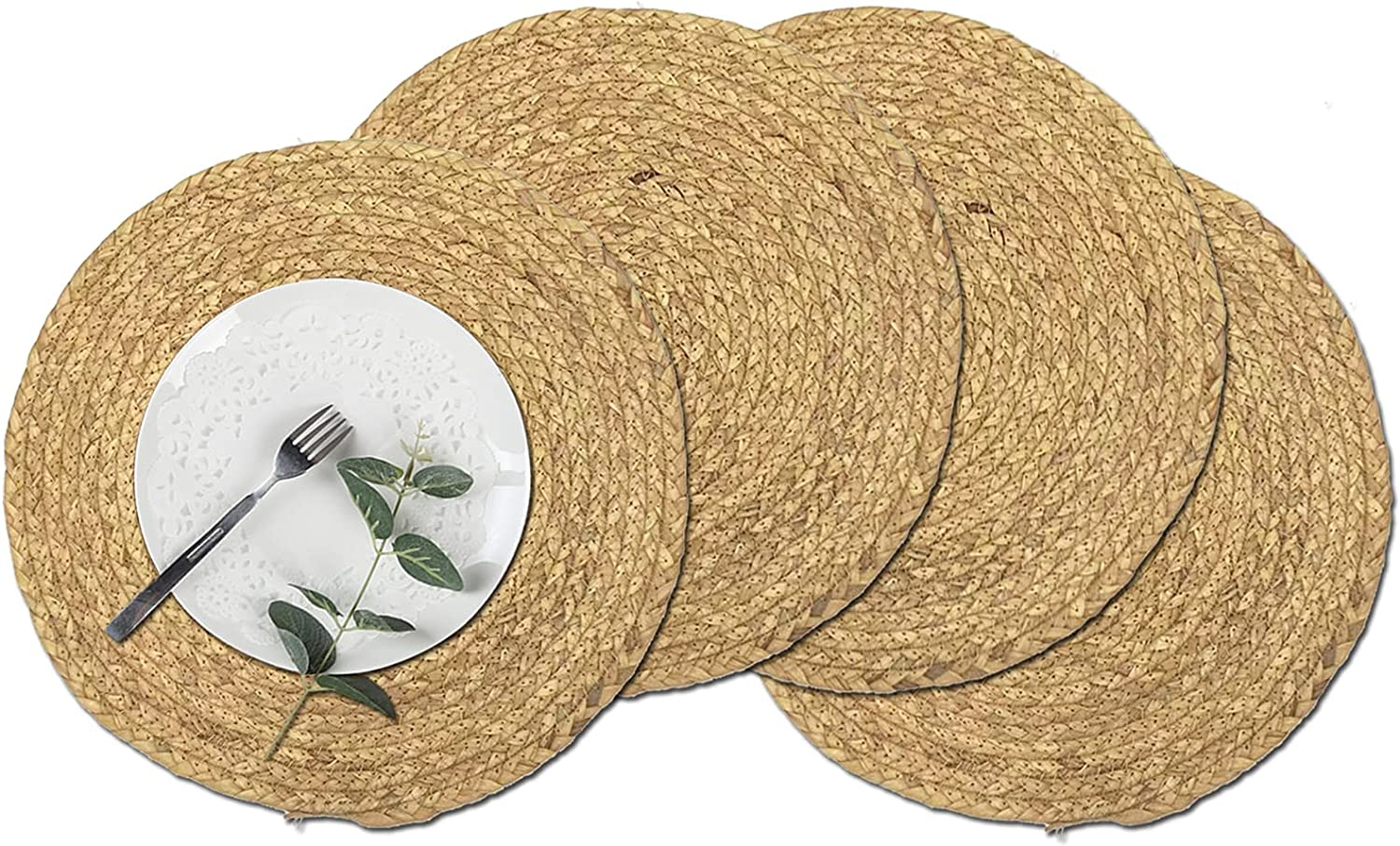 Woven Placemats Set of Free Shipping New New Orleans Mall 4 Round Rattan inch Natural 14