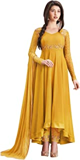 Ethnic Empire Women's Georgette Semi Stitched Anarkali Salwar Suits (Ethnic_Er10478_Yellow_Free Size)