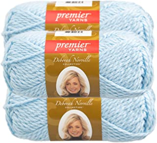 Premier Yarns (3 Pack Deborah Norville Serenity 100% Acrylic Soft Alaskan Blue Yarn for Knitting Crocheting Chunky #5