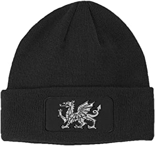 White Welsh Dragon Embroidered Unisex Adult Acrylic Patch Beanie Warm Hat - Dark Grey, One Size