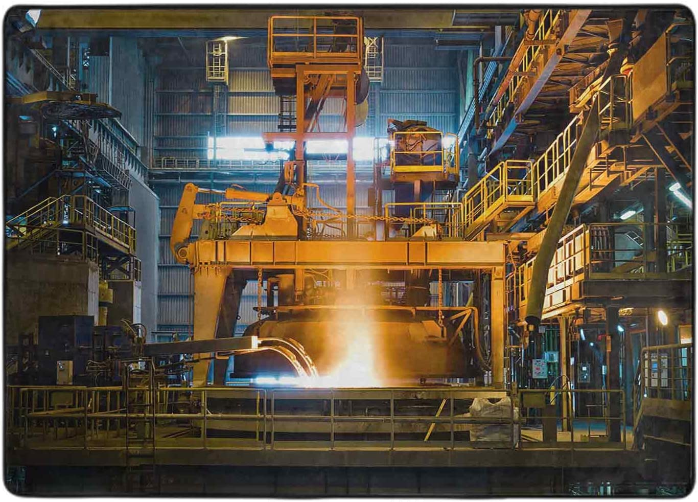 Print Area Rug Steel Production at The Plant Some reservation 4' x Spring new work Metallurgical