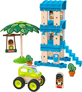 Fisher-Price Wonder Makers Design System Beach Bungalow - 35+ Piece Building and Wooden Track Play Set for Ages 3 Years & Up