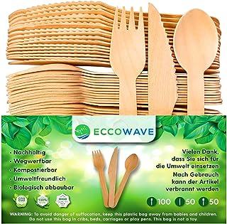 EccoWave - Juego de 200 Cubiertos Desechables ecológicos Desechables (ecológicos, Aptos para barbacoas, cumpleaños, Camping, Picnic, 100 Tenedores, 50 Cuchillos, 50 cucharas)