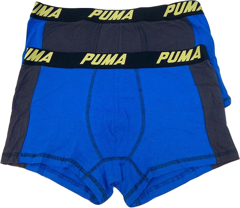 PUMA 2 Pack Men's Cotton Color Block Underwear Trunks Boxer Briefs Cotton Stretch (Large 36-38, Blue - Yellow Logo)