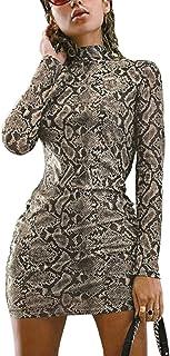 f10658a18446 Sopliagon Womens Bodycon Dress Turtleneck Floral Slim Nightout Mini Dresses