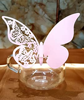 50pcs Butterfly Wedding Party Table Number Name Paper Place Cards Wine Glass Cup Decoration Wall Decals Sticker for Wedding Party Favor (Pink)