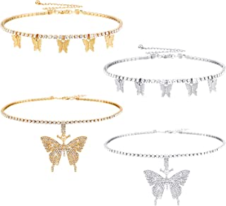 4 Pieces Butterfly Necklaces Tennis Chain Choker Butterfly Pendant Chain Necklaces Bling Butterfly Charm Chokers for Women