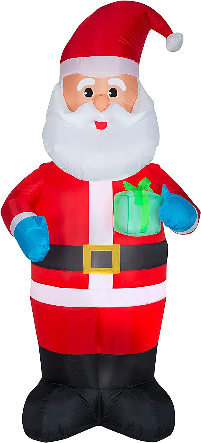 Year-end annual account Gemmy Genuine Free Shipping 7-Foot Santa Holding Gift Decoration Inflatable Indo Yard
