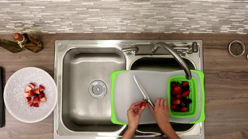 Dexas Over-The-Sink Strainer Grippboard Gray