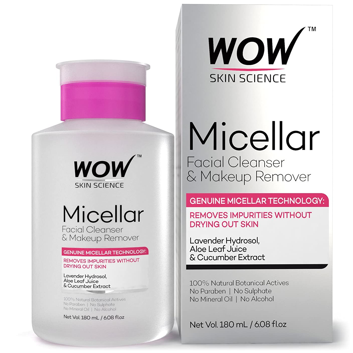 癒すくちばし裁量WOW Micellar Facial Cleanser & Make Up Remover No Parabens, Sulphates, Mineral Oil, Alcohol & Synthetic Fragrance Water, 180mL