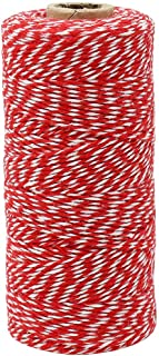Just Artifacts ECO Bakers Twine 240-Yards 4Ply Striped Cherry Red - Decorative Bakers Twine for DIY Crafts and Gift Wrapping