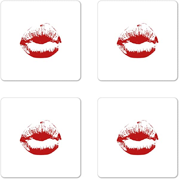 Lunarable Kiss Coaster Set Of 4 Seductive Female Puckering Her Lips Sensual Woman Smooch In Red And White Grunge Look Square Hardboard Gloss Coasters For Drinks Red White