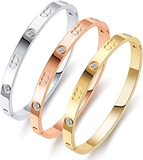 PDWZNBA Love Friendship Bracelet Bangle Gold Silver Rose Cubic Zirconia Stainless Steel Jewelry Oval Double Heart Crystal ...