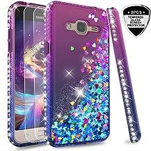 LeYi Compatible with Funda Samsung Galaxy J3 2016 Silicona Purpurina Carcasa con [2-Unidades Cristal Vidrio Templado],Transparente Cristal Bumper Fundas Case Cover para Movil J3 2016 ZX Verde/Púrpura