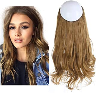 Halo Secret Invisiable Hair Extension Flip Hidden Wire Crown Natural Curly Golden Auburn Long Synthetic Hairpiece For Women Japan Heat Temperature Fiber SARLA 18