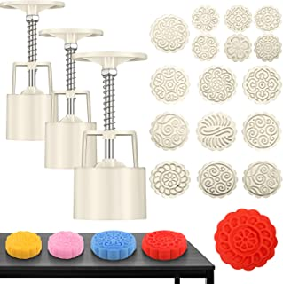 19 Pieces Bath Bomb Mold Kit, Includes 3 Pieces Bath Bombs Press with 16 Pieces Stamps for DIY Making Bath Bomb Supplies Tool