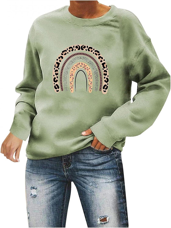 Qisemi Sweatshirt 5 ☆ popular for Women discount Womens Leopard Swea Rainbow Printed