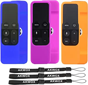 3 Pack AKWOX Silicone Protecitve Cover Case Compatible with for Apple TV 4K / 4th / 5th Gen Siri Remote contorller, Anti-Slip with Lanyard -not for Series 6th Gen 2021