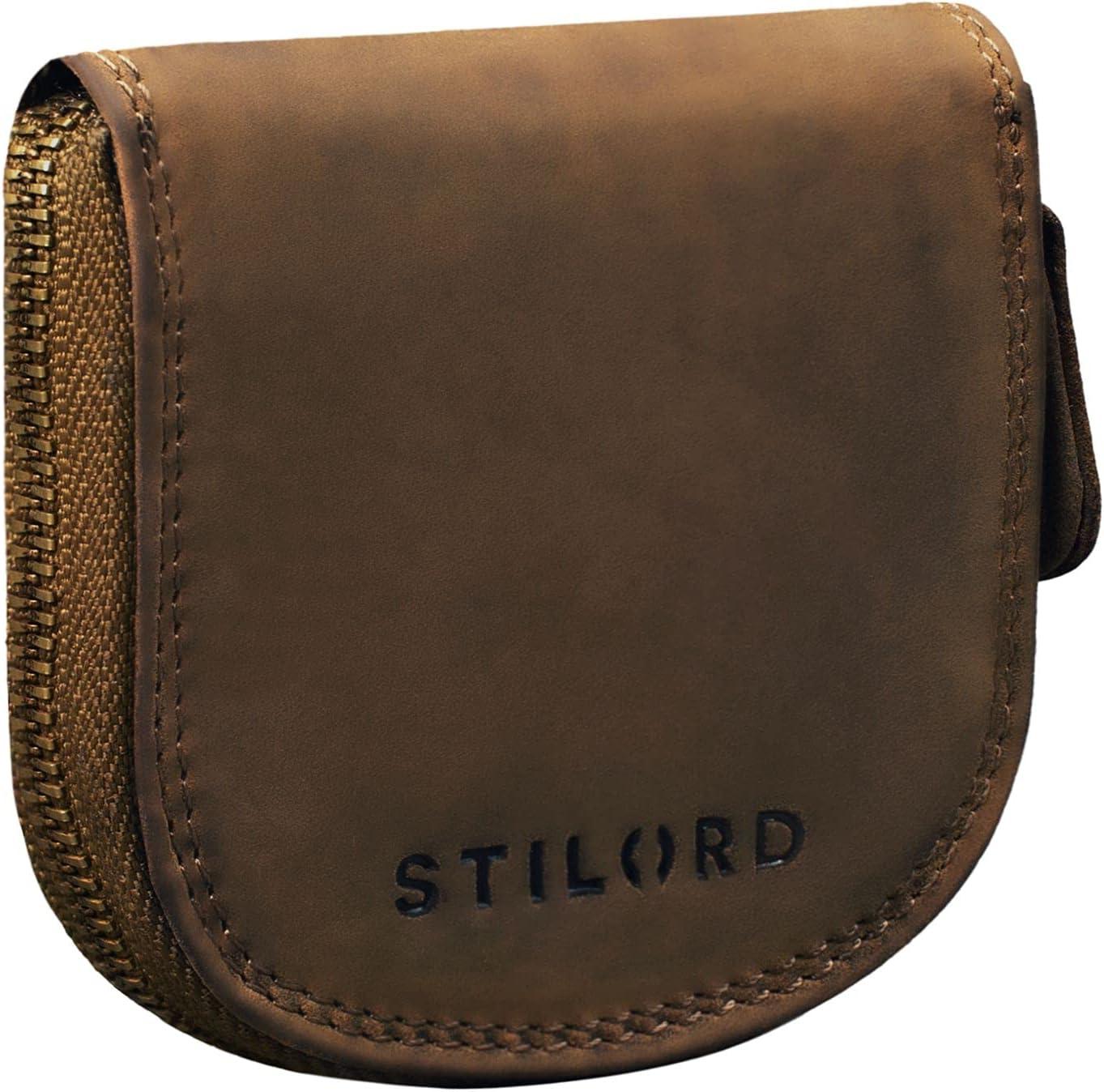 STILORD 'Cash' Mini Billetera Hombre Piel Estuche de Llaves de Cuero Vintage Organizador Monedero Pequeña con Cremallera Slim Wallet, Color:marrón - Medio