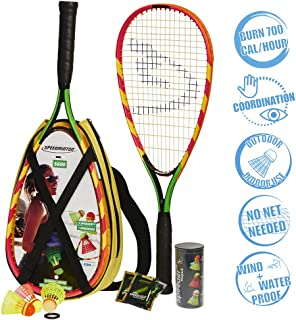 Speedminton S600 Set - Original Speed ​​Badminton/Crossminton Starter Set Including 2 Rackets, 3 Speeder, Speedlights, Bag