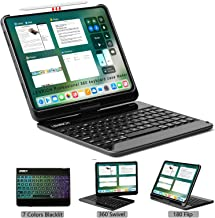 LENRICH iPad Pro 11 case Keyboard 2018 Backlit, 7 Color Backlight 360 rotatable Wireless Folio 180 Flip Swivel Smart Cover Hard Shell Stand Auto Sleep/Wake up Black
