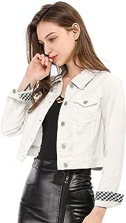 Allegra K Women's Slim Fit Button Down Long Sleeves Casual Cropped Denim Jean Jacket